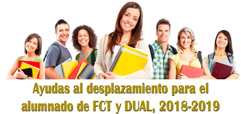 Ayudas al desplazamiento para el alumnado de FCT y DUAL 2018/2019