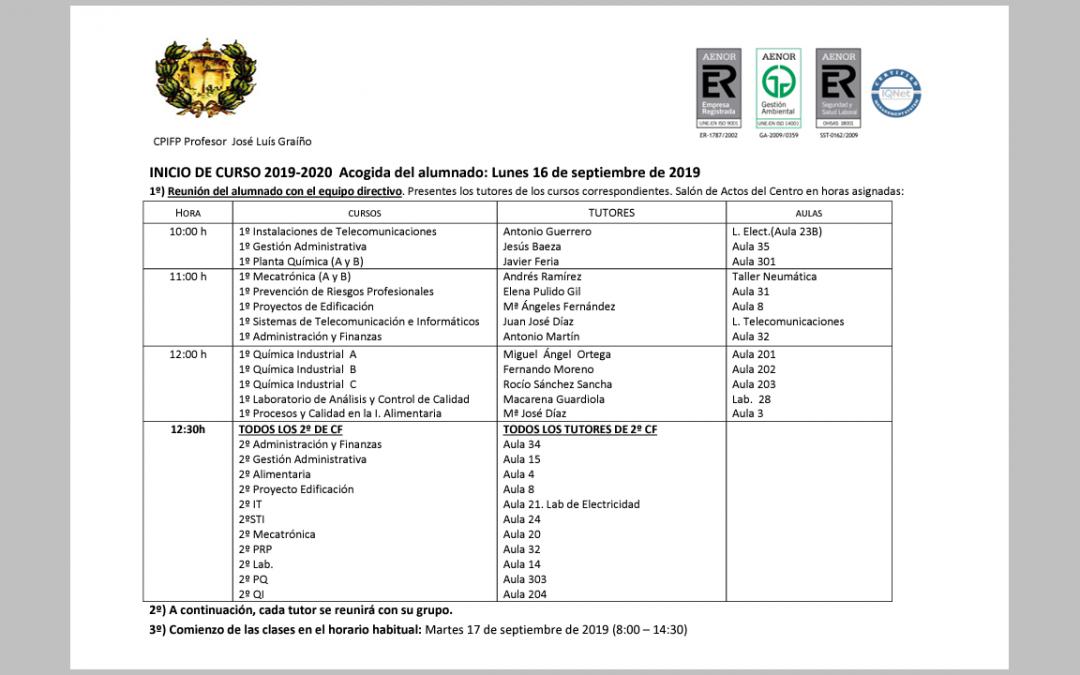 ACOGIDA CURSO 2019-2020